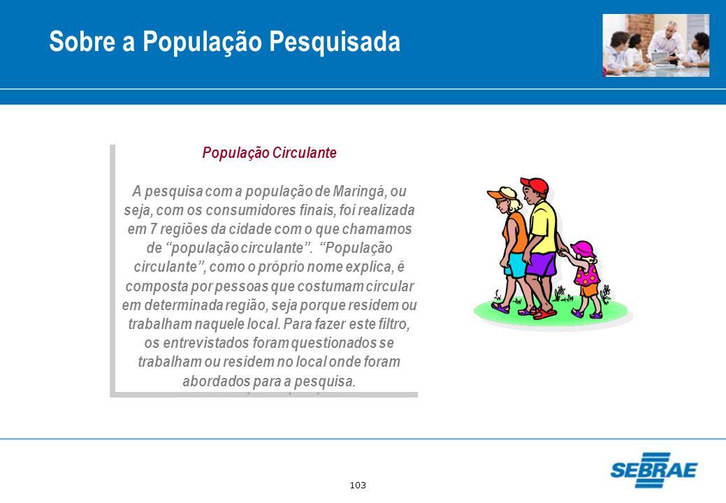 103 Sobre a População Pesquisada População Circulante A pesquisa com a população de Maringá, ou seja, com os consumidores finais, foi realizada em 7 r