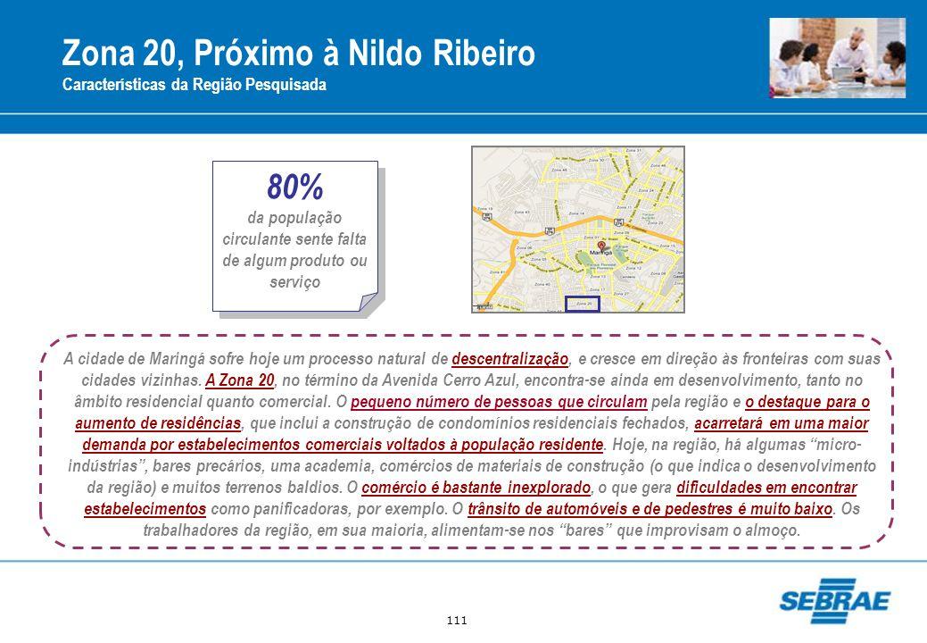 111 Zona 20, Próximo à Nildo Ribeiro Características da Região Pesquisada A cidade de Maringá sofre hoje um processo natural de descentralização, e cr