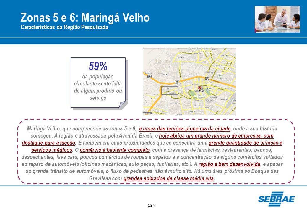 134 Zonas 5 e 6: Maringá Velho Características da Região Pesquisada Maringá Velho, que compreende as zonas 5 e 6, é umas das regiões pioneiras da cida