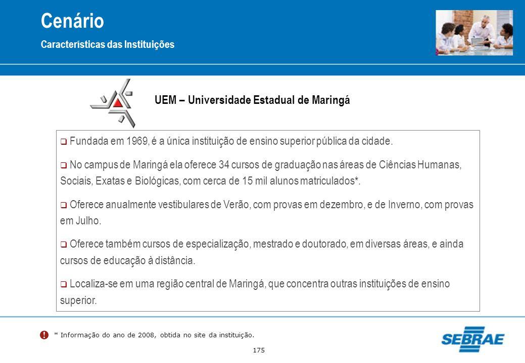 175 Cenário Características das Instituições UEM – Universidade Estadual de Maringá Fundada em 1969, é a única instituição de ensino superior pública
