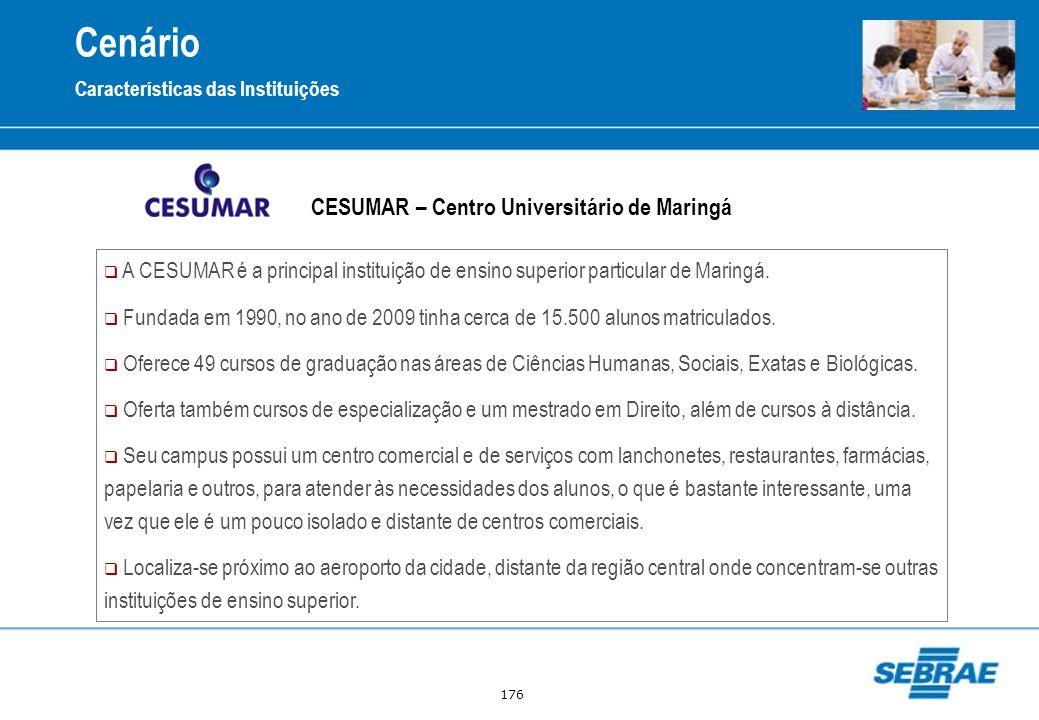 176 CESUMAR – Centro Universitário de Maringá Cenário Características das Instituições A CESUMAR é a principal instituição de ensino superior particul