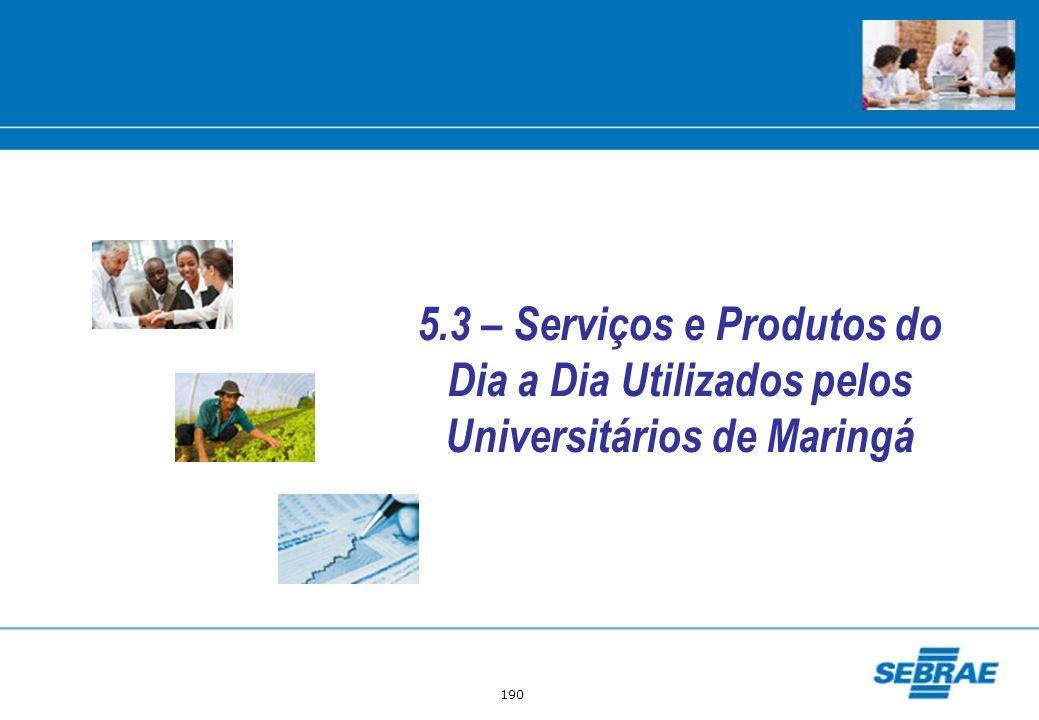 190 5.3 – Serviços e Produtos do Dia a Dia Utilizados pelos Universitários de Maringá