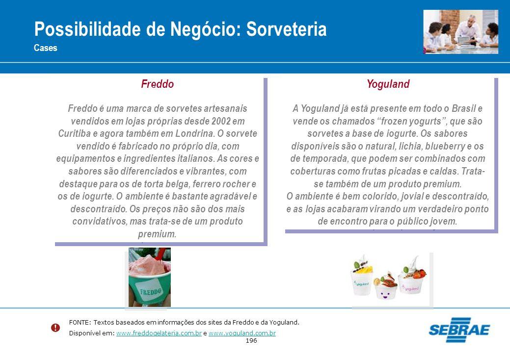 196 Possibilidade de Negócio: Sorveteria Cases Freddo Freddo é uma marca de sorvetes artesanais vendidos em lojas próprias desde 2002 em Curitiba e ag