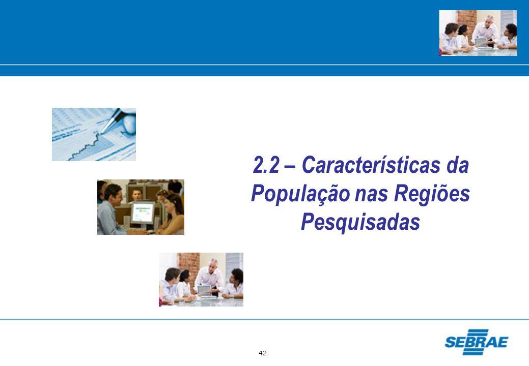 42 2.2 – Características da População nas Regiões Pesquisadas