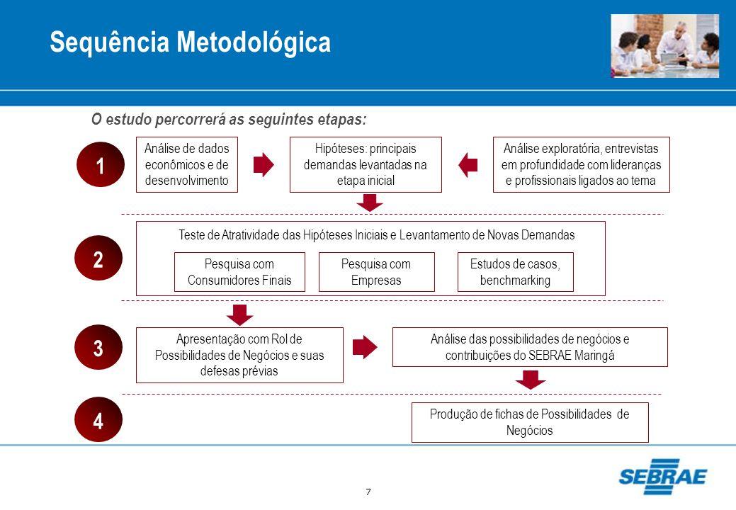 8 Sequência Metodológica Análise de dados econômicos e de desenvolvimento Hipóteses: principais demandas levantadas na etapa inicial Análise exploratória, entrevistas em profundidade com lideranças e profissionais ligados ao tema 1 Fontes: - IBGE - IPARDES - RAIS - TARGET - DENATRAN - Atlas do Desenvolvimento Humano no Brasil - PRVL (Programa de Redução de Violência Letal Contra Adolescentes e Jovens) Fontes: - 20 entrevistas com credenciados do SEBRAE, lideranças da cidade e grandes empresas (nestas, junto aos decisores de compras e contratações) - 40 entrevistas exploratórias com a população