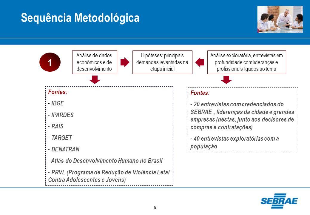 8 Sequência Metodológica Análise de dados econômicos e de desenvolvimento Hipóteses: principais demandas levantadas na etapa inicial Análise explorató