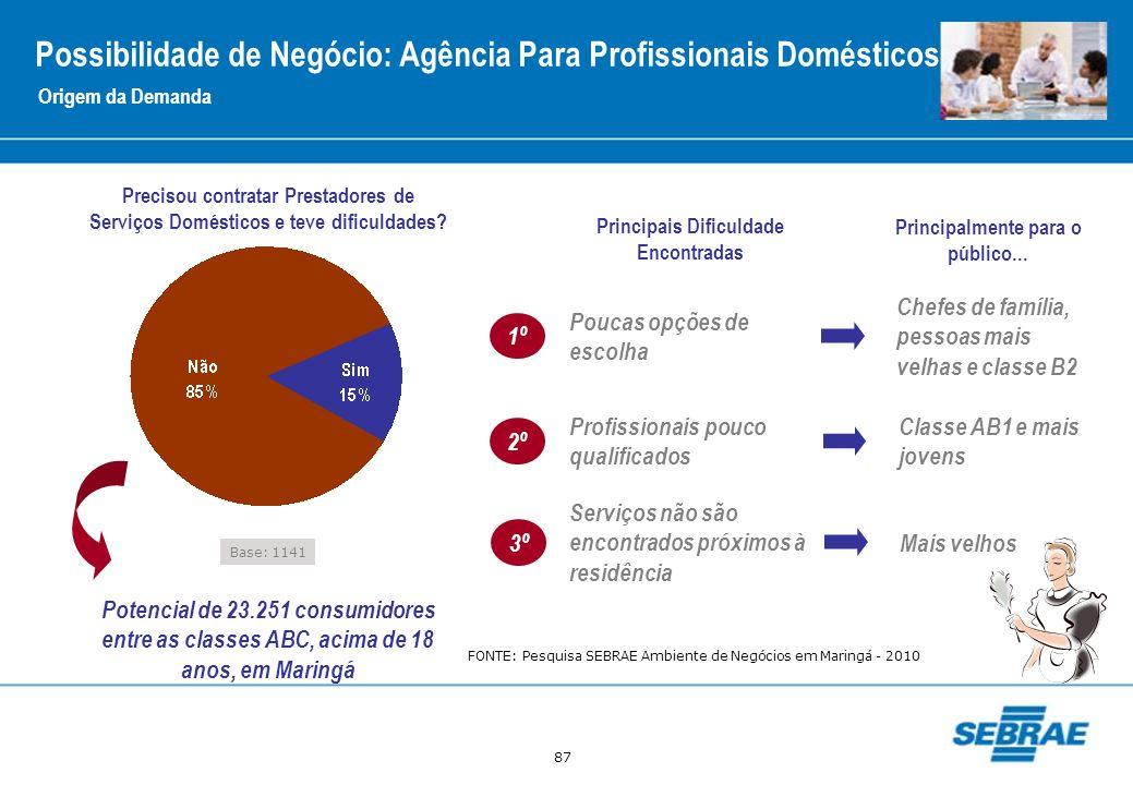87 Origem da Demanda Possibilidade de Negócio: Agência Para Profissionais Domésticos Base: 1141 Precisou contratar Prestadores de Serviços Domésticos