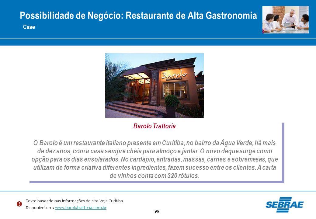 99 Case Barolo Trattoria O Barolo é um restaurante italiano presente em Curitiba, no bairro da Água Verde, há mais de dez anos, com a casa sempre chei