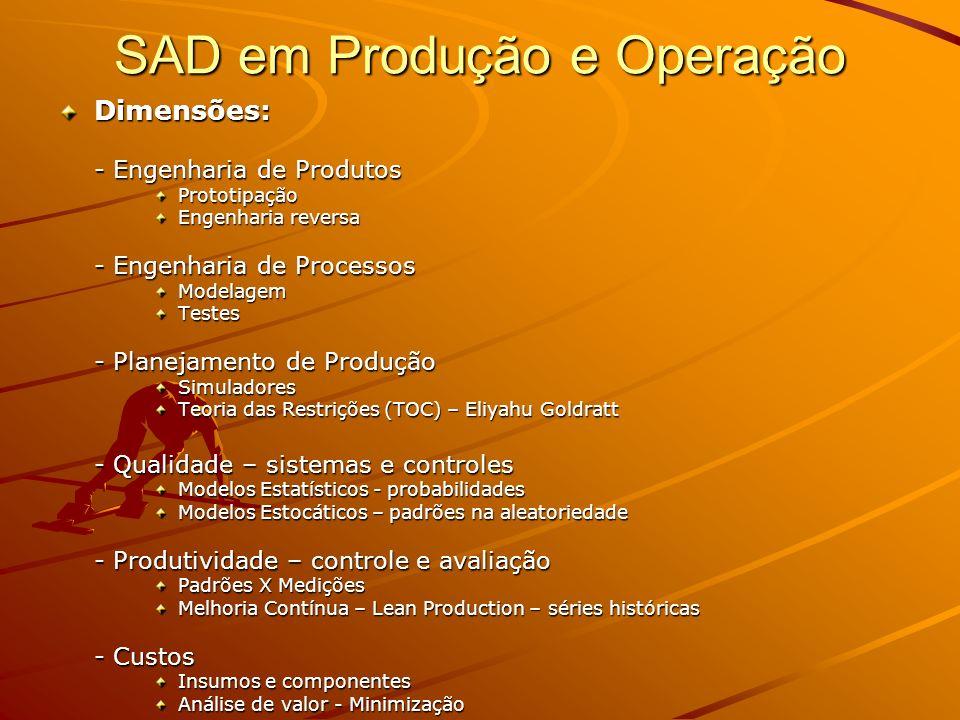 SAD em Produção e Operação Dimensões: - Engenharia de Produtos Prototipação Engenharia reversa - Engenharia de Processos ModelagemTestes - Planejament