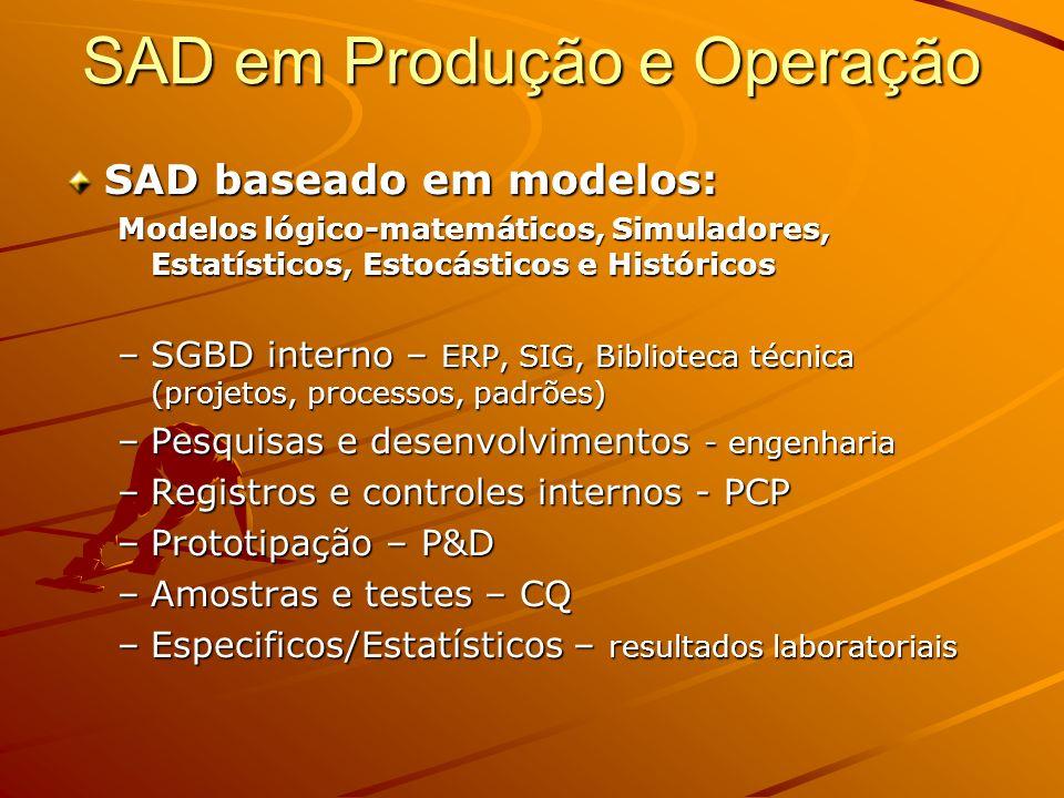 Operações em modelos Simulação, Testes, Prototipação –Parametrização –Variáveis IndependentesDependentes Variáveis objetivos –Tratamentos Estatísticos –Maximização/Minimização –Históricos e Tendências SAD em Produção e Operação