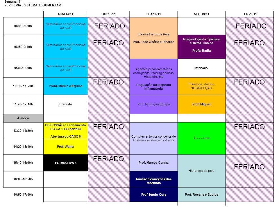 Semana 16 – PERIFERIA : SISTEMA TEGUMENTAR QUA14/11QUI 15/11SEX 16/11SEG 19/11TER 20/11 08:00-8:50h Seminários sobre Principios do SUS FERIADO Exame F