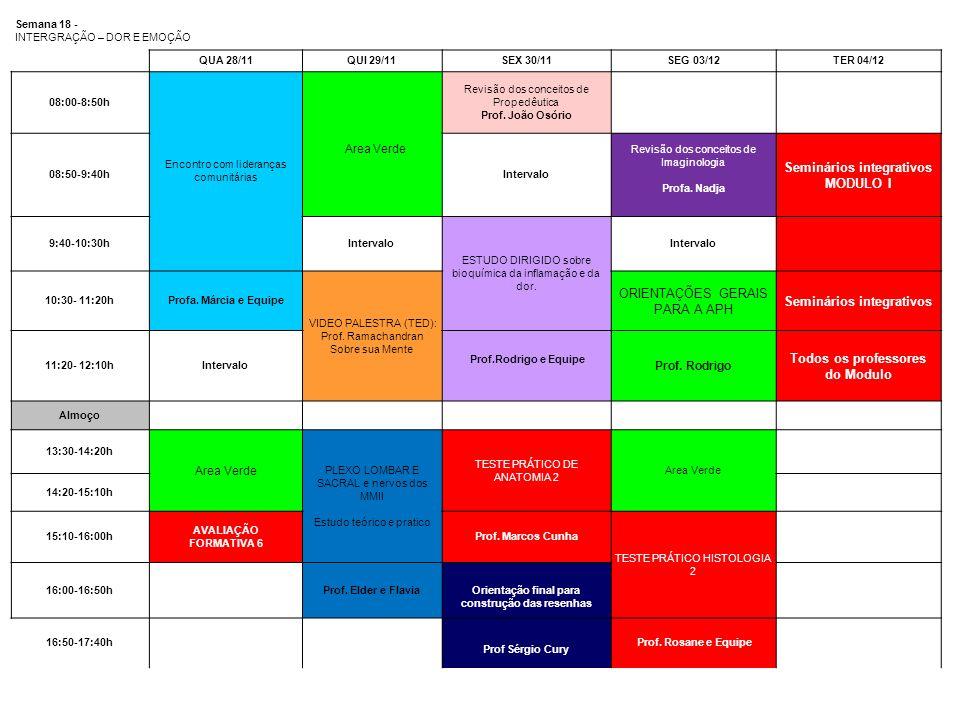 Semana 18 - INTERGRAÇÃO – DOR E EMOÇÃO QUA 28/11QUI 29/11SEX 30/11SEG 03/12TER 04/12 08:00-8:50h Encontro com lideranças comunitárias Area Verde Revis