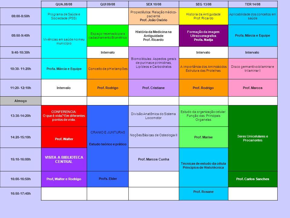 Semana 2 - BASES - Conceitos Básicos e Origem da Vida QUA.08/08QUI 09/08SEX 10/08SEG 13/08TER 14/08 08:00-8:50h Programa de Saúde e Sociedade (PSS) Pr