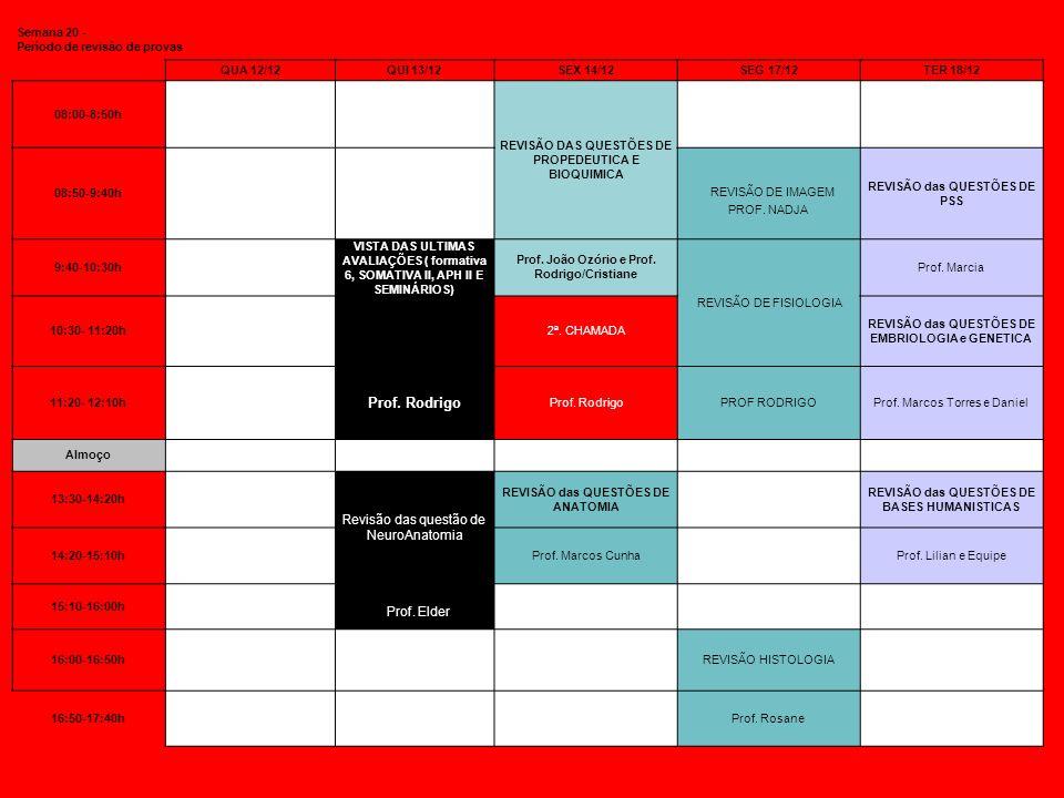 Semana 20 - Período de revisão de provas QUA 12/12QUI 13/12SEX 14/12SEG 17/12TER 18/12 08:00-8:50h REVISÃO DAS QUESTÕES DE PROPEDEUTICA E BIOQUIMICA 0
