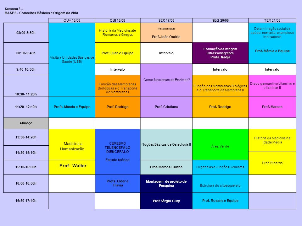 Semana 3 – BASES - Conceitos Básicos e Origem da Vida QUA 15/08QUI 16/08SEX 17/08SEG 20/08TER 21/08 08:00-8:50h Visita a Unidades Básicas de Saúde (US