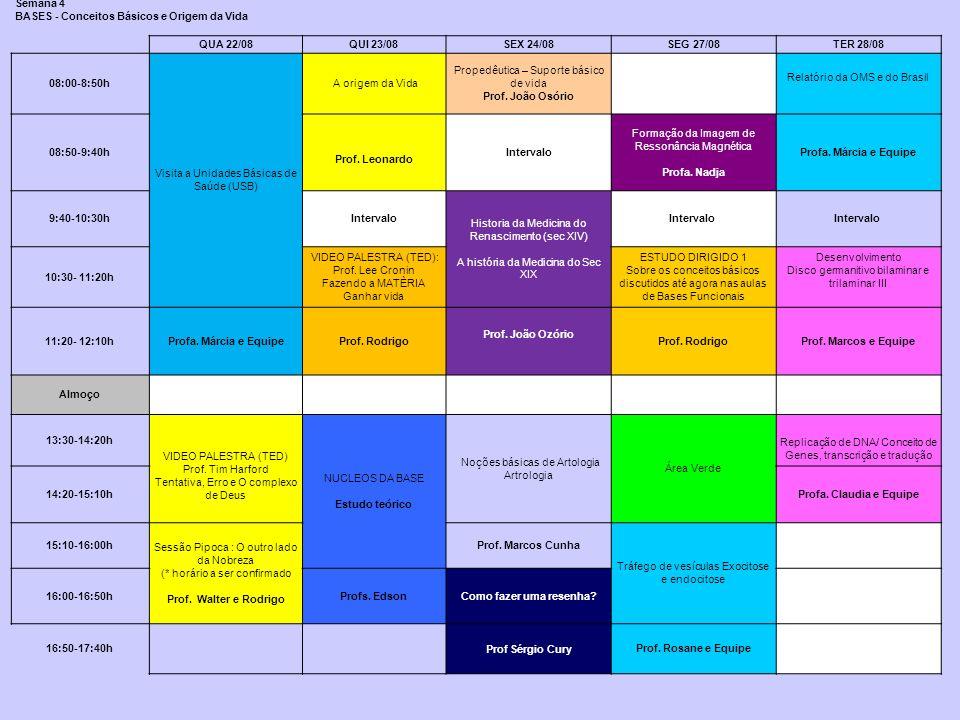 Semana 4 BASES - Conceitos Básicos e Origem da Vida QUA 22/08QUI 23/08SEX 24/08SEG 27/08TER 28/08 08:00-8:50h Visita a Unidades Básicas de Saúde (USB)