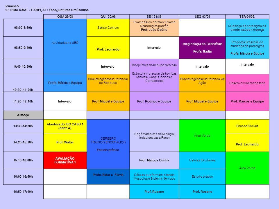 Semana 5 SISTEMA AXIAL - CABEÇA I : Face, junturas e músculos QUA 29/08QUI 30/08SEX 31/08SEG 03/09TER 04/09. 08:00-8:50h Atividades na UBS Senso Comum