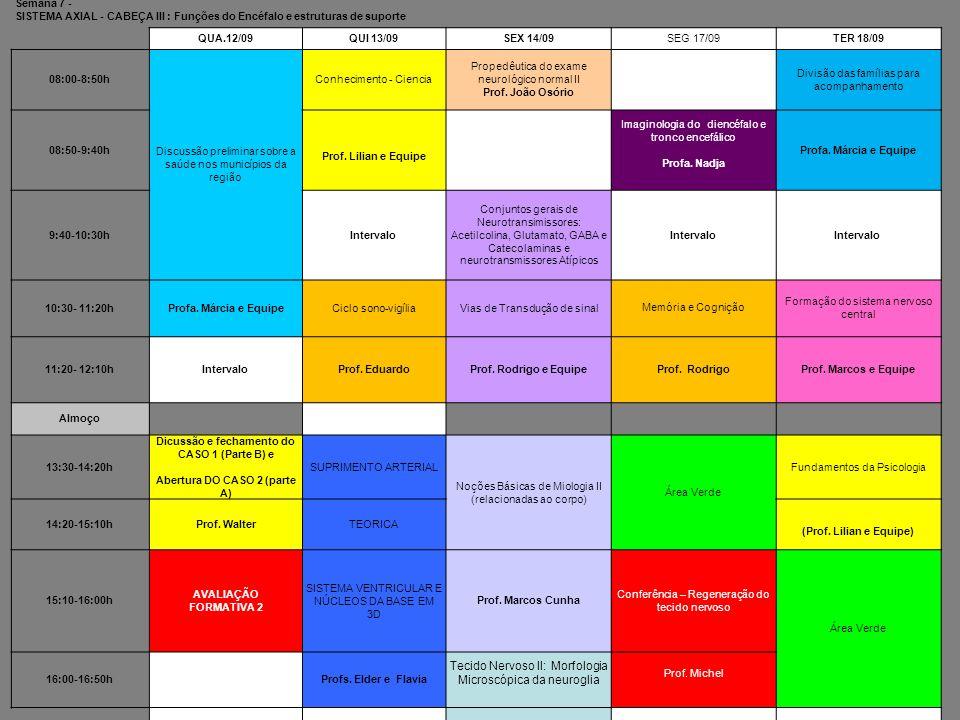 Semana 7 - SISTEMA AXIAL - CABEÇA III : Funções do Encéfalo e estruturas de suporte QUA.12/09QUI 13/09SEX 14/09SEG 17/09TER 18/09 08:00-8:50h Discussã