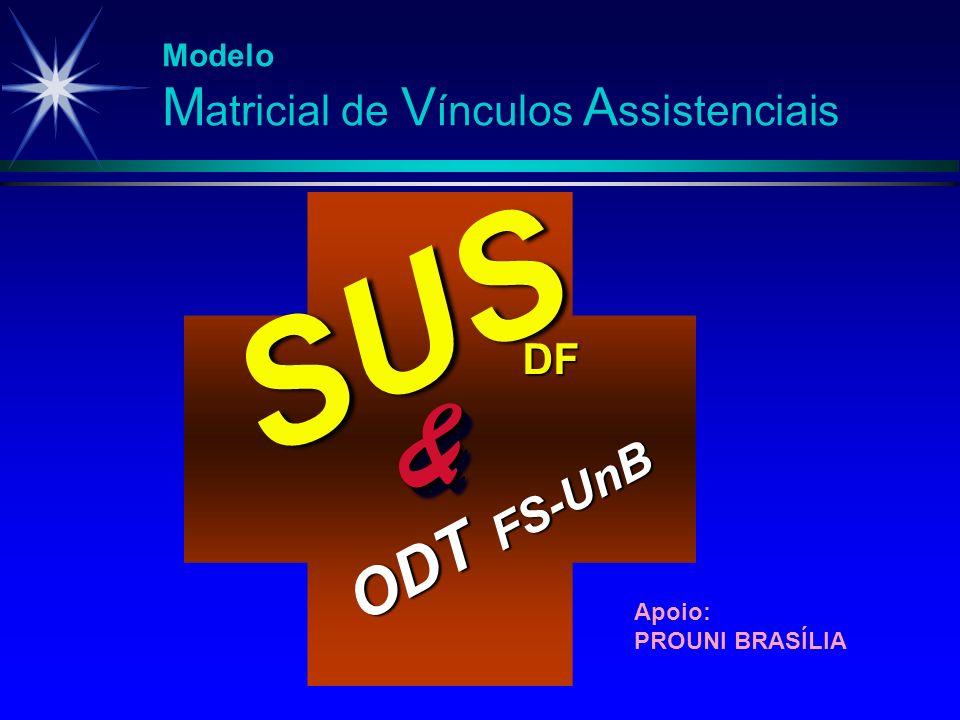 SUS FS-UnB && DF ODT Apoio: PROUNI BRASÍLIA Modelo M atricial de V ínculos A ssistenciais