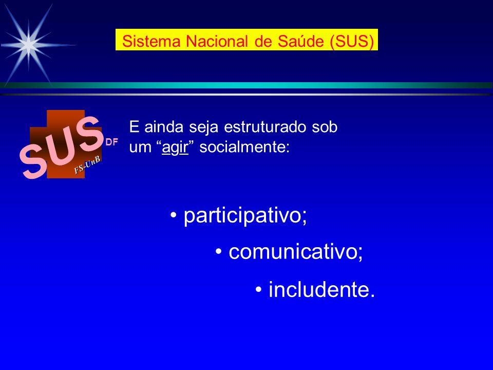 SUS FS-Un B DF Sistema Nacional de Saúde (SUS) participativo; E ainda seja estruturado sob um agir socialmente: comunicativo; includente.