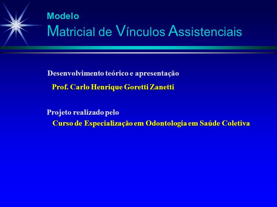 Modelo M atricial de V ínculos A ssistenciais Vínculo Clínico Viu-se que o modelo se fundamenta inicialmente na recuperação do vínculo clínico básico perdido ao longo da história da formulação e implantação das políticas de saúde no Brasil.