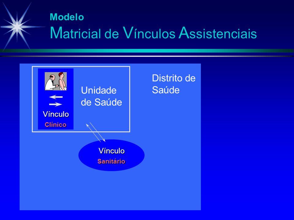Modelo M atricial de V ínculos A ssistenciais Vínculo Clínico Unidade de Saúde Vínculo Sanitário Distrito de Saúde