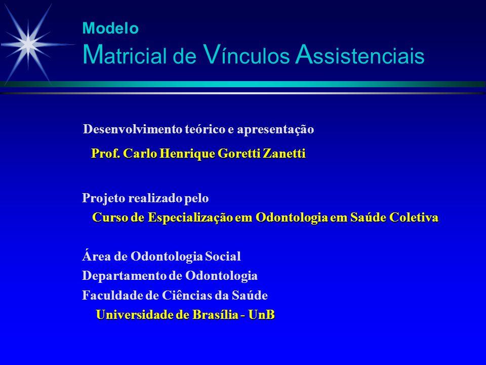 Desenvolvimento teórico e apresentação Prof. Carlo Henrique Goretti Zanetti Modelo M atricial de V ínculos A ssistenciais Projeto realizado pelo Curso