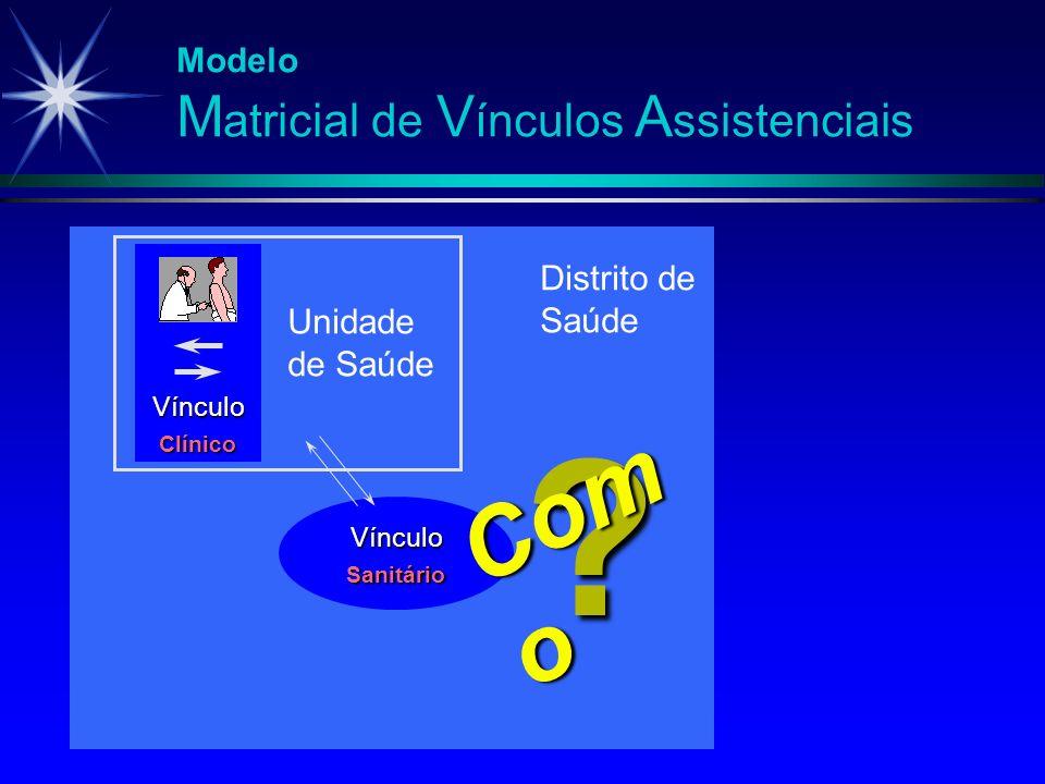 Modelo M atricial de V ínculos A ssistenciais Vínculo Clínico Unidade de Saúde Vínculo Sanitário ? Com o Distrito de Saúde