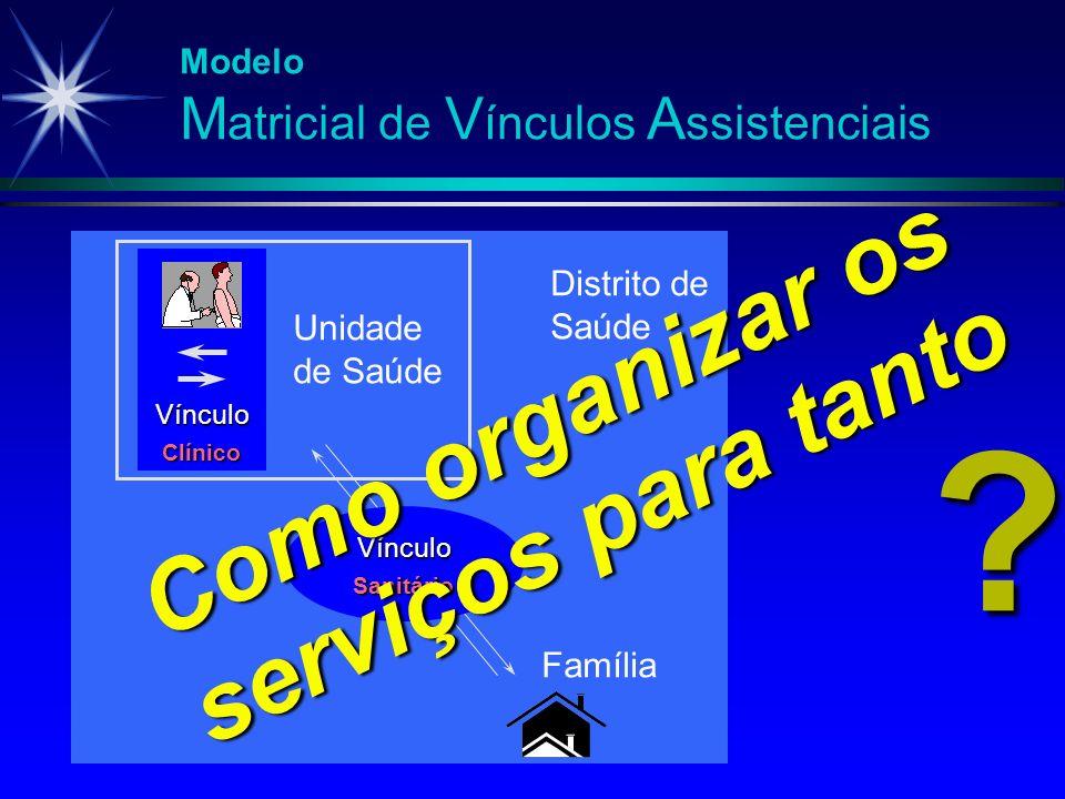 Modelo M atricial de V ínculos A ssistenciais Vínculo Clínico Unidade de Saúde Vínculo Sanitário Família ? Como organizar os serviços para tanto Distr
