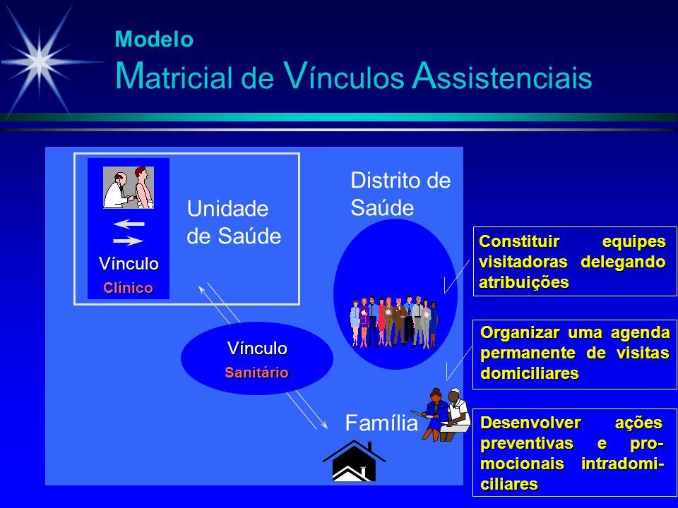 Modelo M atricial de V ínculos A ssistenciais Vínculo Clínico Unidade de Saúde Distrito de Saúde Vínculo Sanitário Família Desenvolver ações preventiv