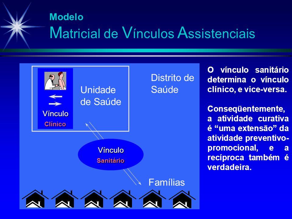 Modelo M atricial de V ínculos A ssistenciais Vínculo Clínico Unidade de Saúde Vínculo Sanitário Famílias O vínculo sanitário determina o vínculo clín