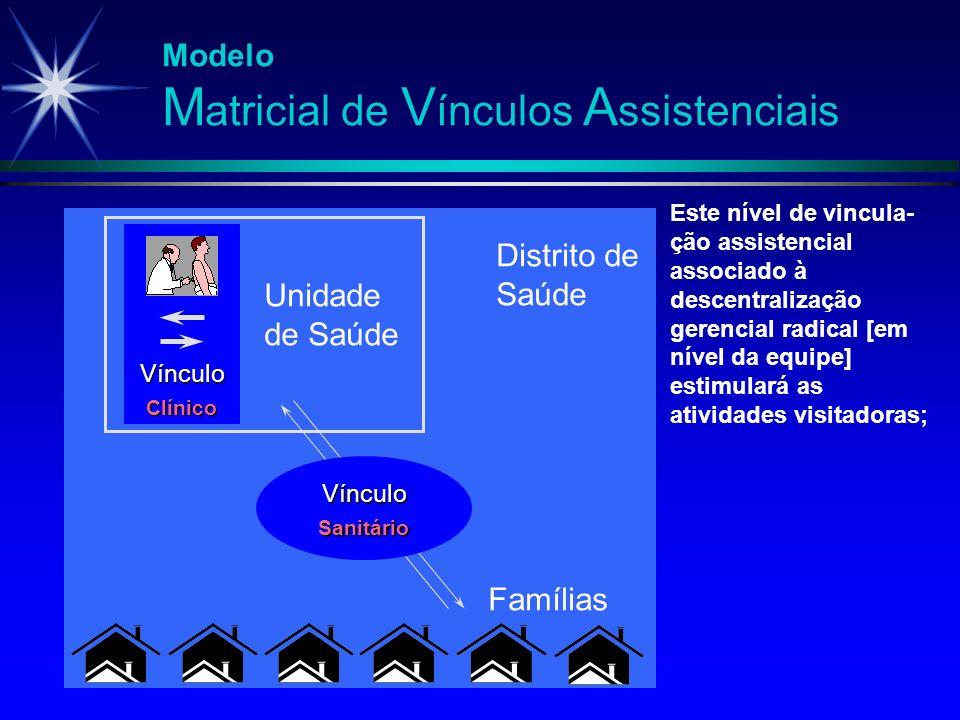 Modelo M atricial de V ínculos A ssistenciais Vínculo Clínico Unidade de Saúde Vínculo Sanitário Famílias Distrito de Saúde Este nível de vincula- ção