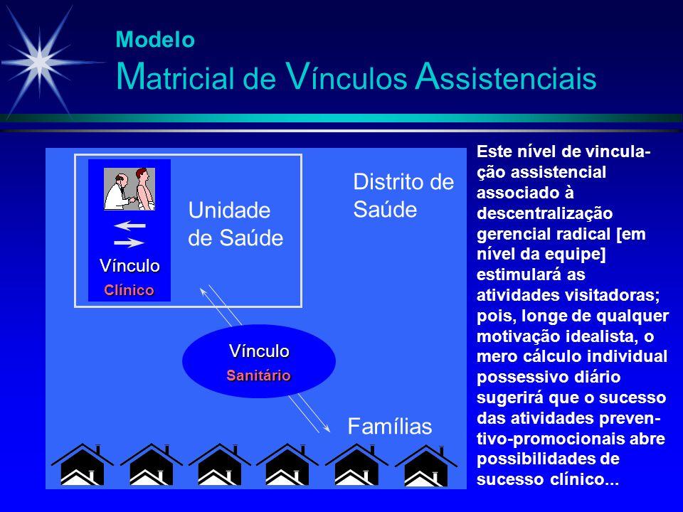 Modelo M atricial de V ínculos A ssistenciais Vínculo Clínico Unidade de Saúde Vínculo Sanitário Famílias Este nível de vincula- ção assistencial asso