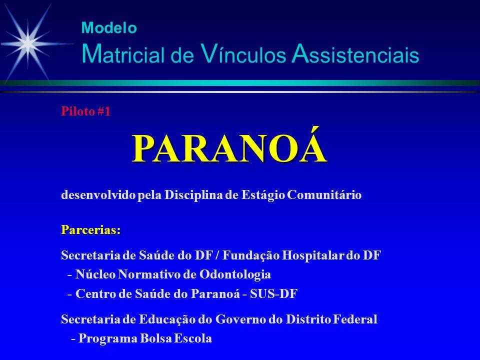 Piloto #1 PARANOÁ PARANOÁ desenvolvido pela Disciplina de Estágio ComunitárioParcerias: Secretaria de Saúde do DF / Fundação Hospitalar do DF - Núcleo