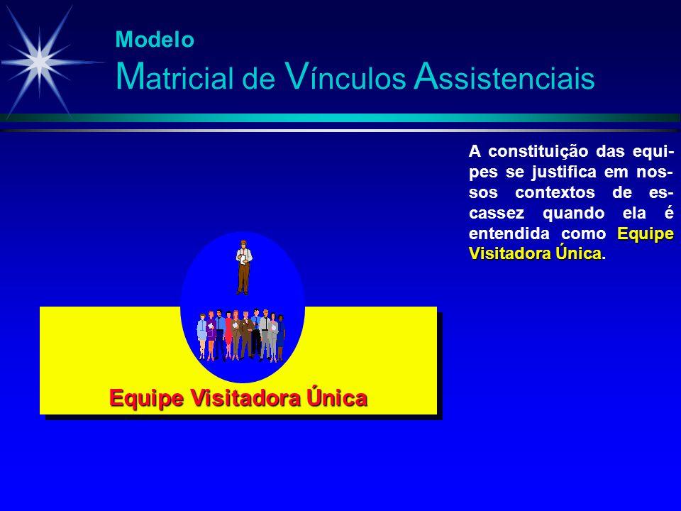 Modelo M atricial de V ínculos A ssistenciais Equipe Visitadora Única Equipe Visitadora Única A constituição das equi- pes se justifica em nos- sos co