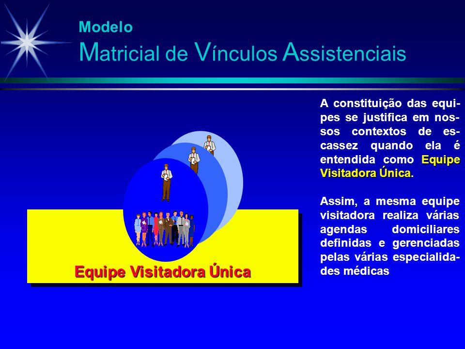 Modelo M atricial de V ínculos A ssistenciais Equipe Visitadora Única A constituição das equi- pes se justifica em nos- sos contextos de es- cassez qu