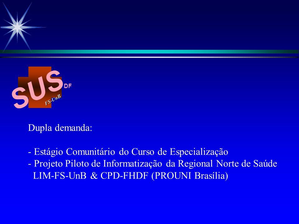 SUS FS-Un B DF Dupla demanda: - Estágio Comunitário do Curso de Especialização - Projeto Piloto de Informatização da Regional Norte de Saúde LIM-FS-Un