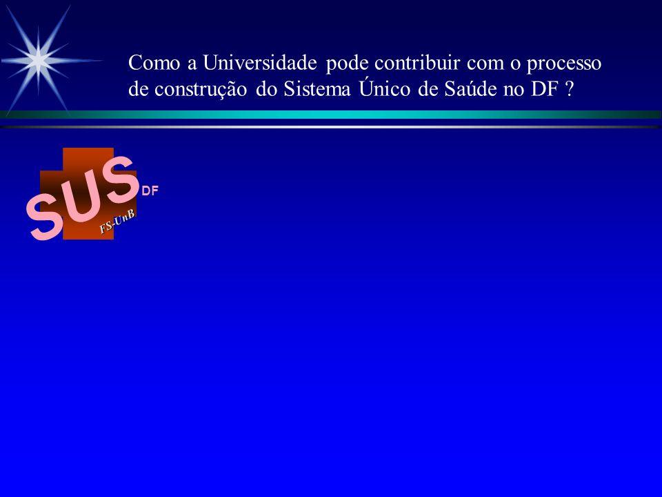 SUS FS-Un B DF É um modelo assistencial que busca responder a vários desafios do setor saúde, com propostas construídas sob princípios históricos do Movimento de Reforma Sanitária Brasileira e ainda sob conhecimentos e tecnologias gerenciais contemporâneas.