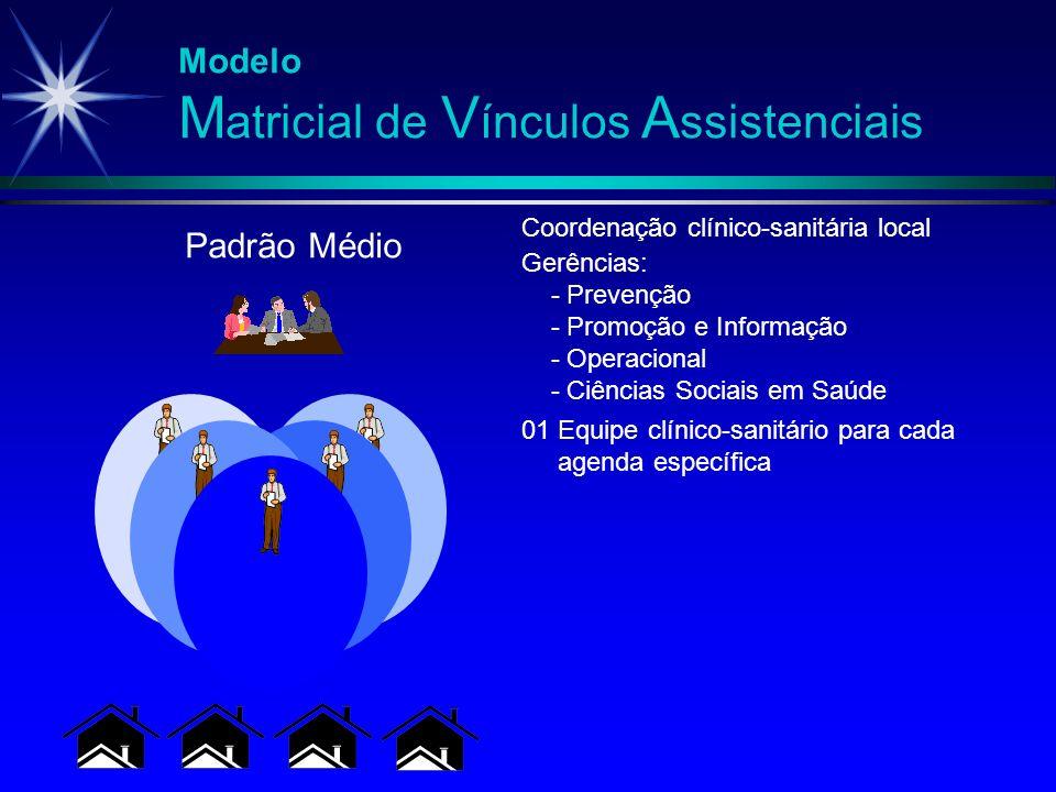 Modelo M atricial de V ínculos A ssistenciais 01 Equipe clínico-sanitário para cada agenda específica Gerências: - Prevenção - Promoção e Informação -