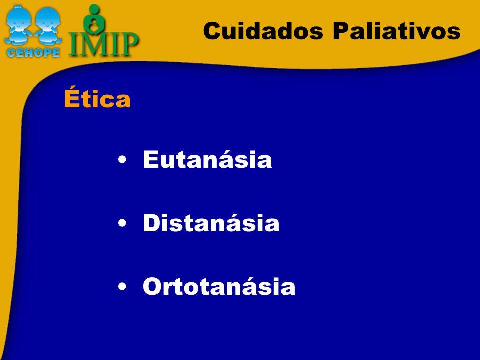 Cuidados Paliativos Eutanásia Distanásia Ortotanásia Ética