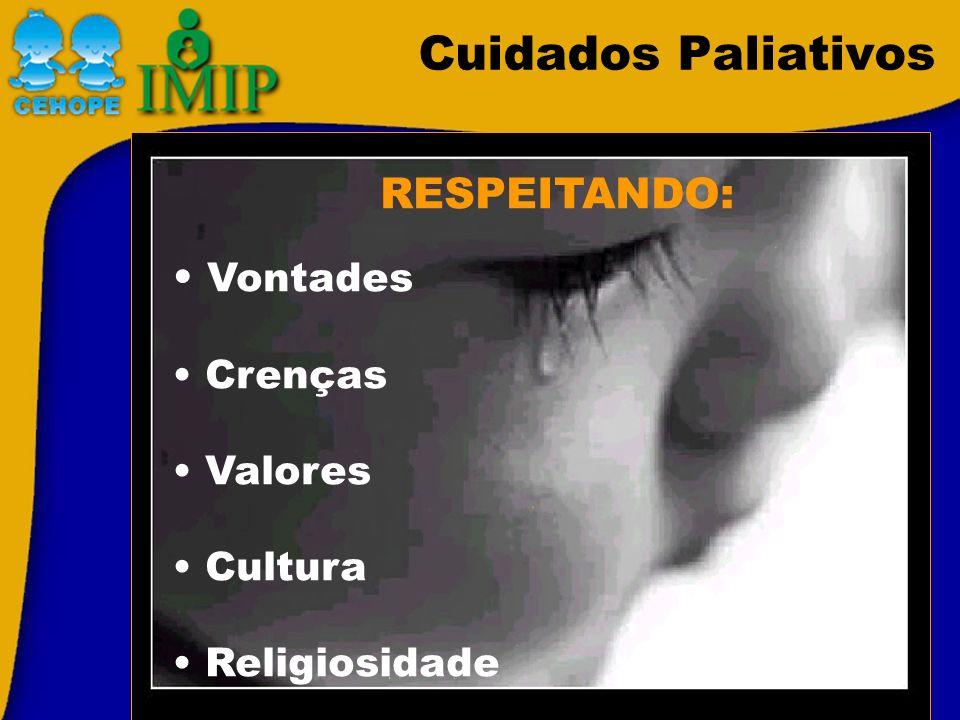 Cuidados Paliativos RESPEITANDO: Vontades Crenças Valores Cultura Religiosidade