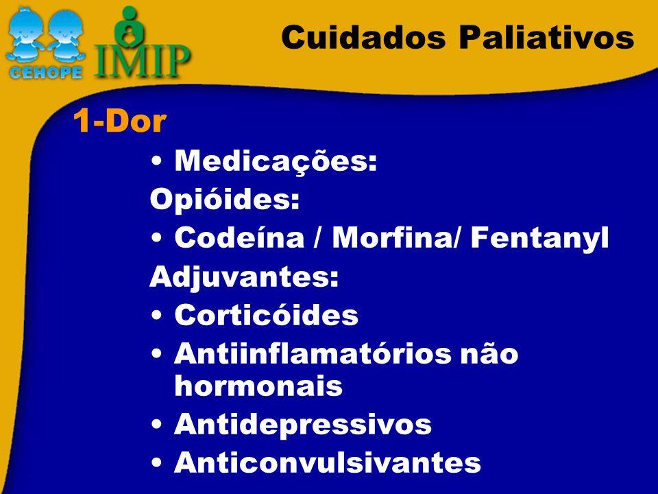 Cuidados Paliativos Medicações: Opióides: Codeína / Morfina/ Fentanyl Adjuvantes: Corticóides Antiinflamatórios não hormonais Antidepressivos Anticonv