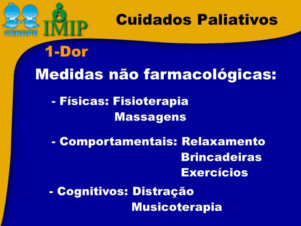 Cuidados Paliativos 1-Dor - Físicas: Fisioterapia Massagens Medidas não farmacológicas: - Comportamentais: Relaxamento Brincadeiras Exercícios - Cogni