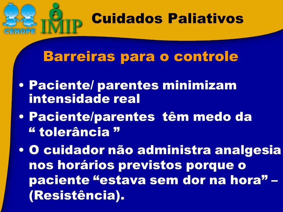 Paciente/ parentes minimizam intensidade real Paciente/parentes têm medo da tolerância O cuidador não administra analgesia nos horários previstos porq