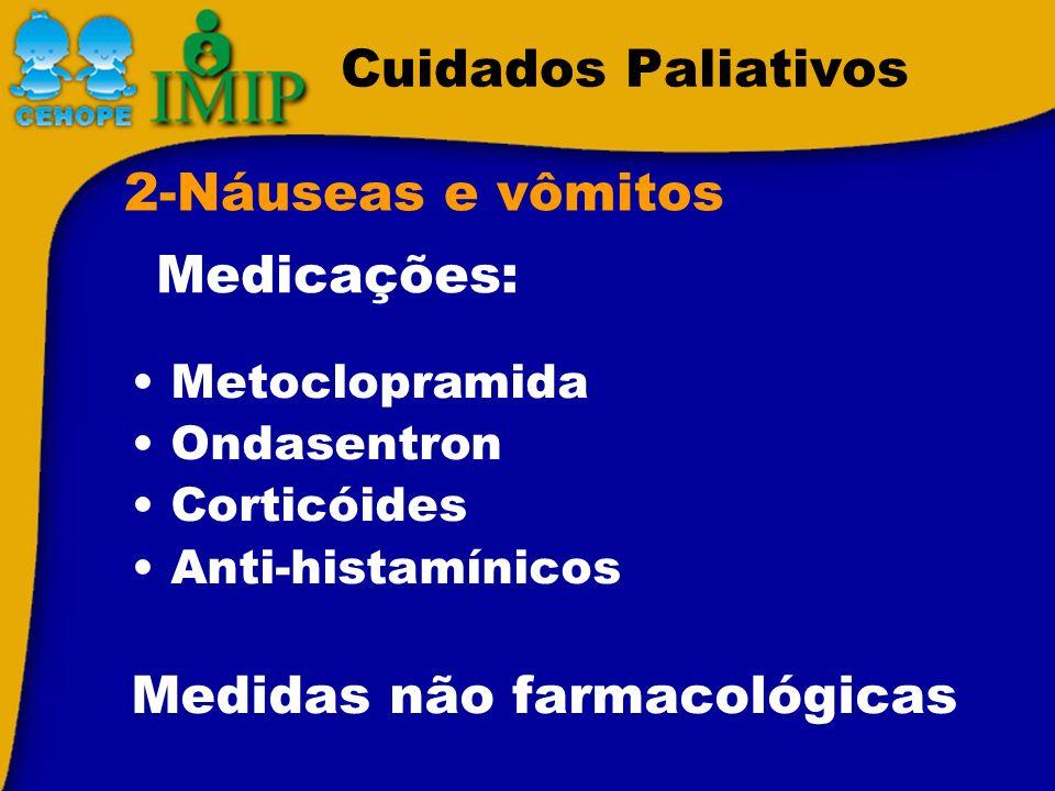 Cuidados Paliativos Metoclopramida Ondasentron Corticóides Anti-histamínicos Medidas não farmacológicas 2-Náuseas e vômitos Medicações:
