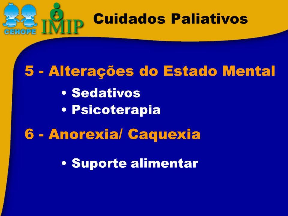 Cuidados Paliativos Suporte alimentar 5 - Alterações do Estado Mental Sedativos Psicoterapia 6 - Anorexia/ Caquexia