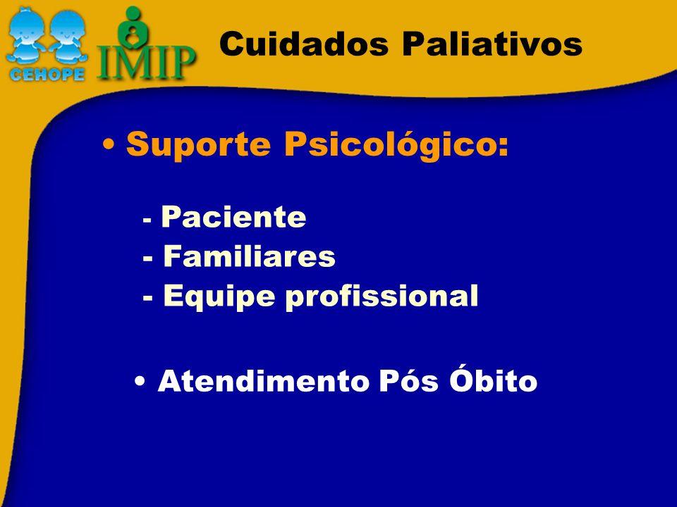Cuidados Paliativos Suporte Psicológico: - Paciente - Familiares - Equipe profissional Atendimento Pós Óbito