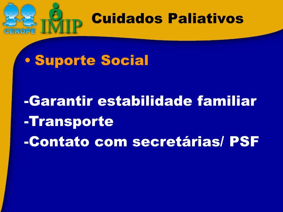 Cuidados Paliativos Suporte Social -Garantir estabilidade familiar -Transporte -Contato com secretárias/ PSF