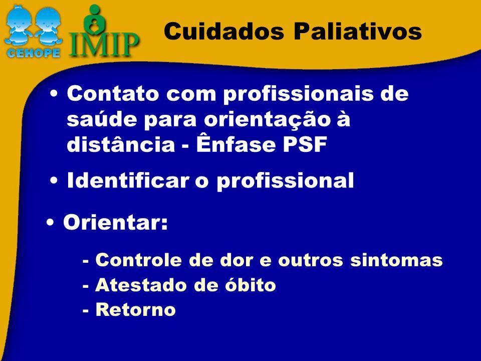 Cuidados Paliativos Contato com profissionais de saúde para orientação à distância - Ênfase PSF Identificar o profissional - Controle de dor e outros