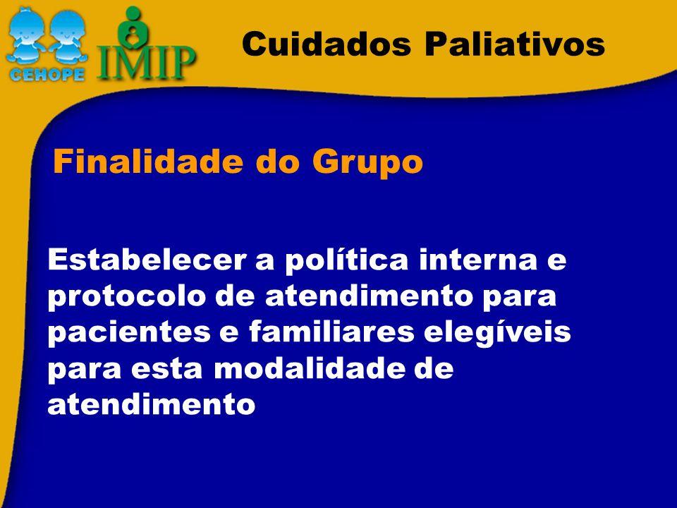 Cuidados Paliativos Estabelecer a política interna e protocolo de atendimento para pacientes e familiares elegíveis para esta modalidade de atendiment